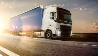 LKW mit Lastwagenfahrer